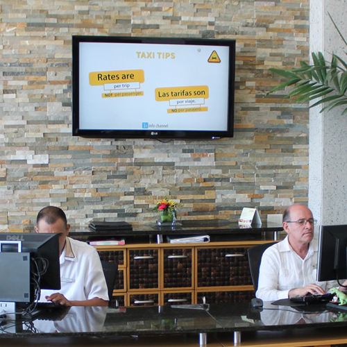 info lobby pantallas en el lobby del hotel promocion de negocios en el hotel