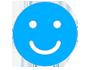 icono happy face azul